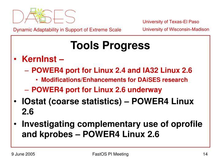 Tools Progress