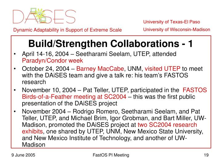 Build/Strengthen Collaborations - 1