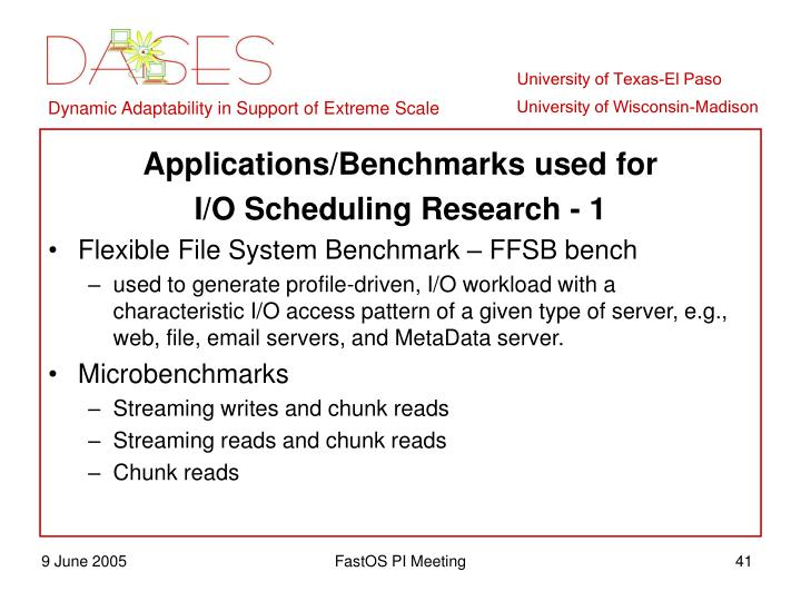 Applications/Benchmarks used for