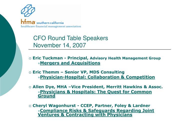 Cfo round table speakers november 14 2007