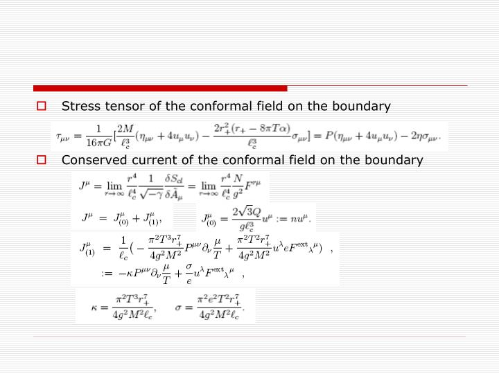 Stress tensor of the conformal field on the boundary