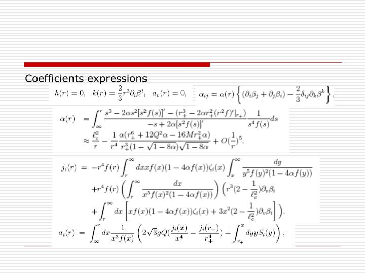 Coefficients expressions