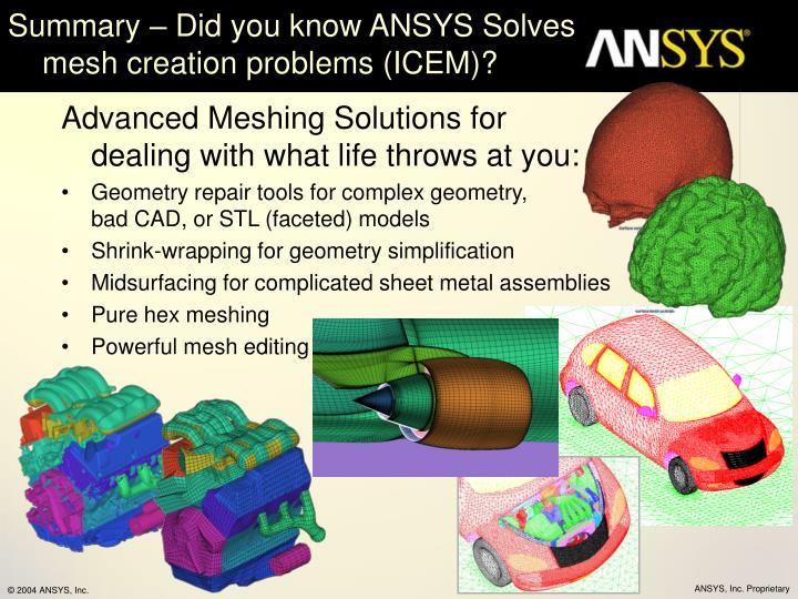Summary – Did you know ANSYS Solves