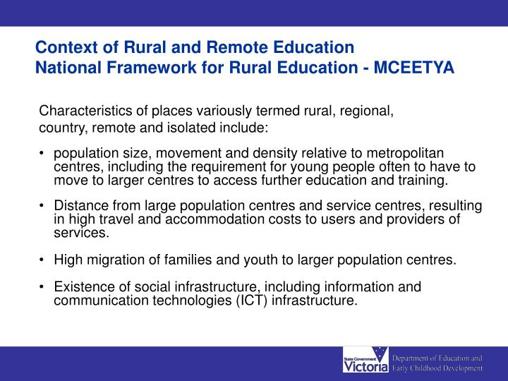 Context of Rural and Remote Education