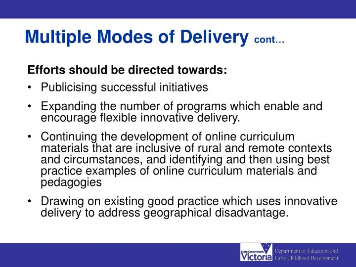 Multiple Modes of Delivery