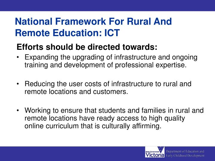 National Framework For Rural And Remote Education: ICT