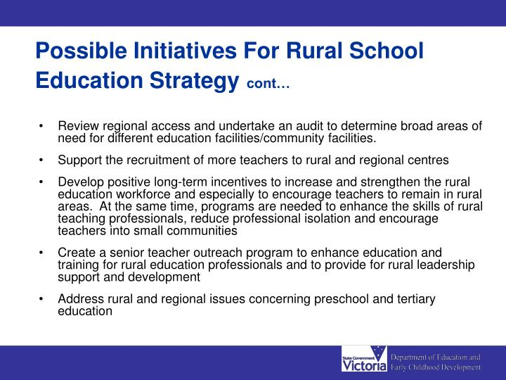Possible Initiatives For Rural School Education Strategy