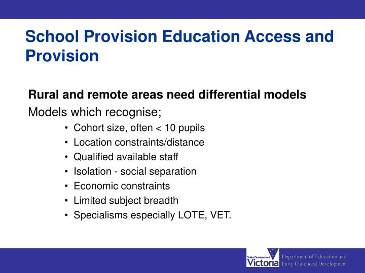 School Provision Education Access and Provision