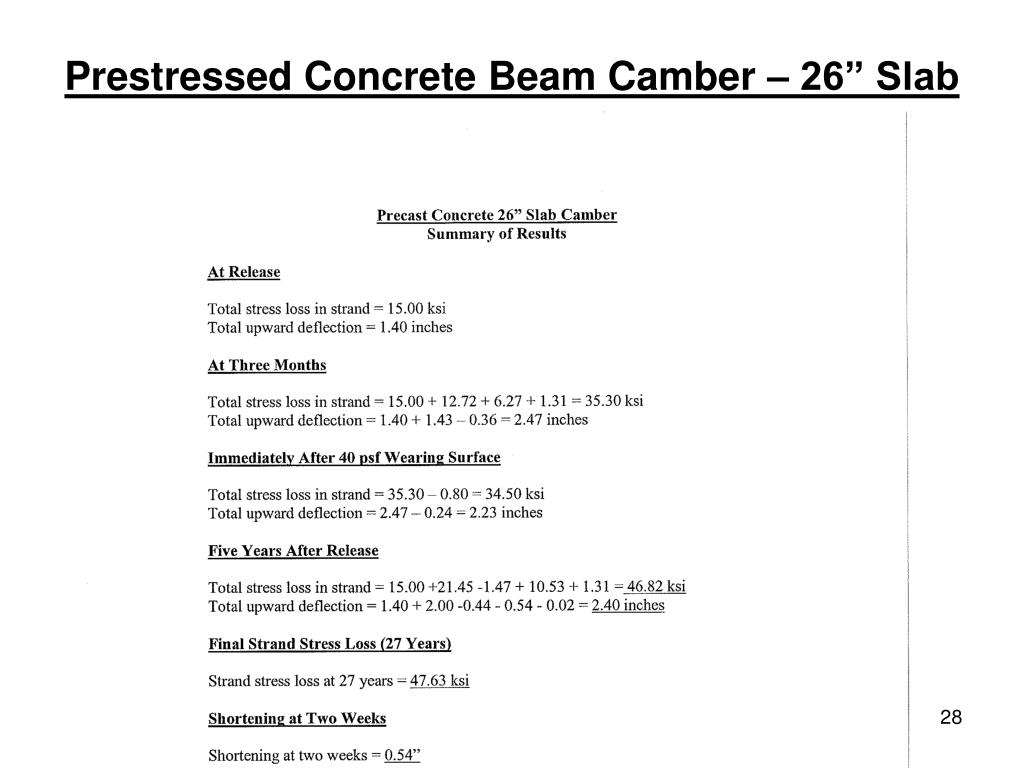 "PPT - Prestressed Concrete Beam Camber – 26"" Slab PowerPoint"
