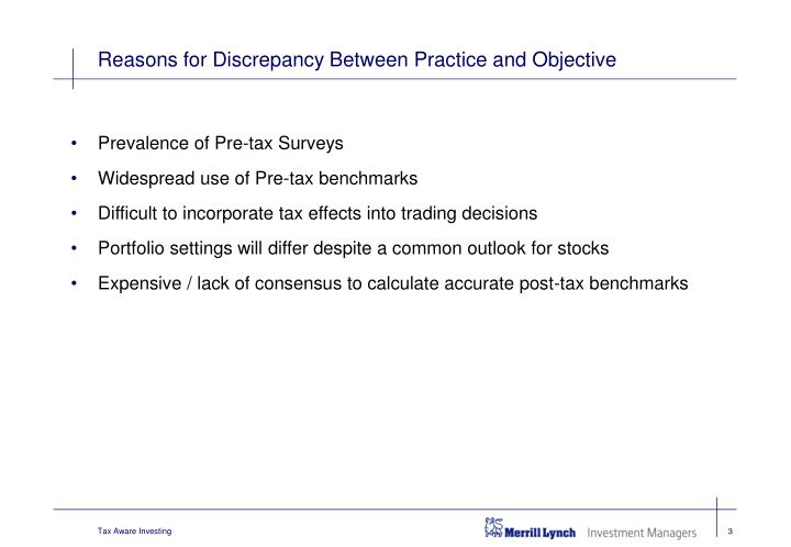Reasons for discrepancy between practice and objective