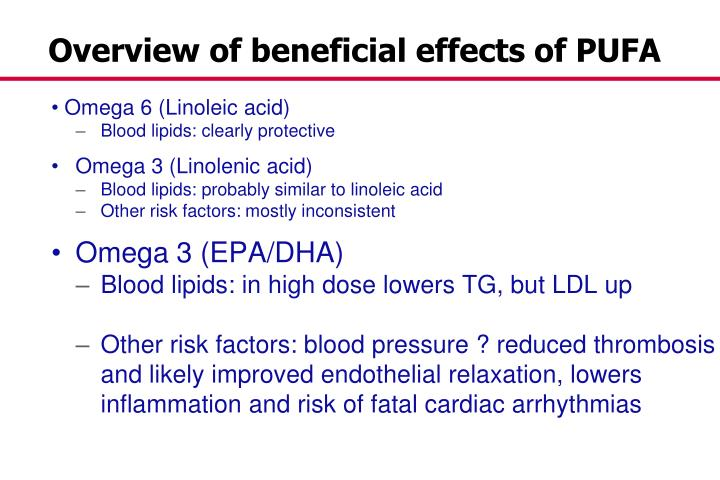 Overview of beneficial effects of PUFA