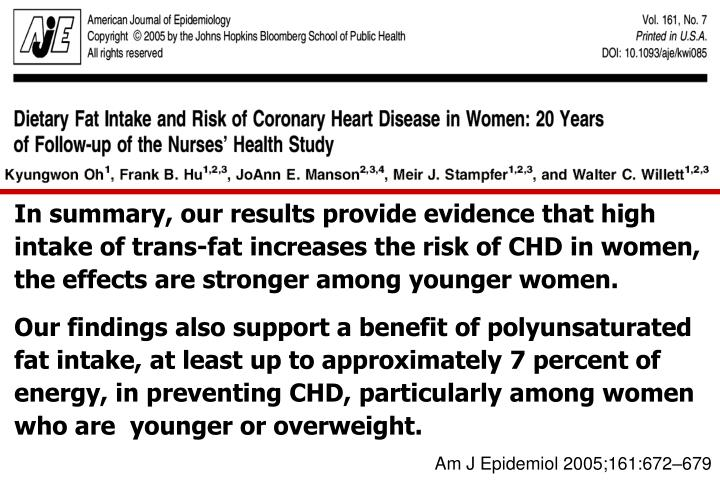 In summary, our results provide evidence that high intake of trans-fat increases the risk of CHD in women, the effects are stronger among younger women.