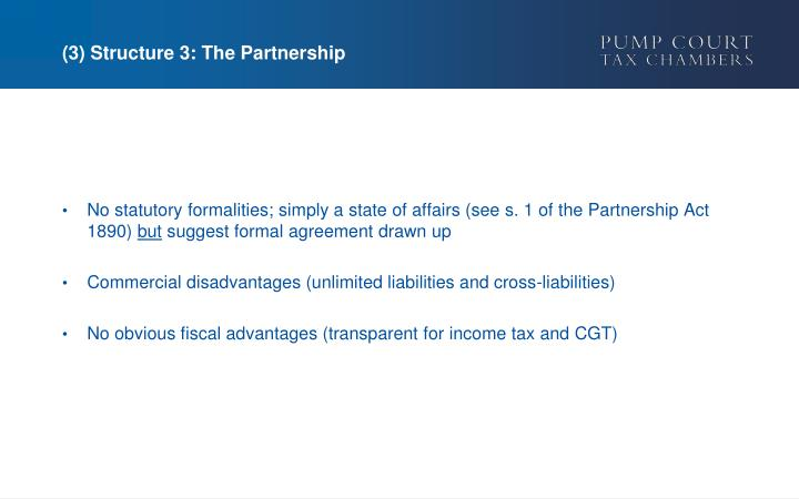 (3) Structure 3: The Partnership