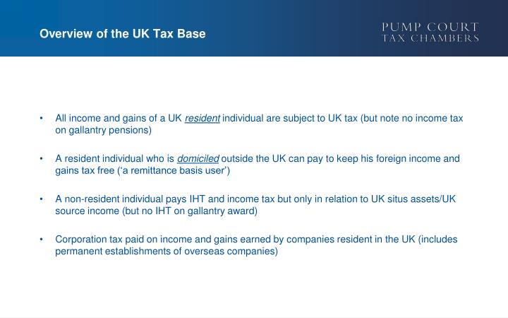 Overview of the uk tax base