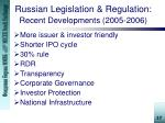 russian legislation regulation recent developments 2005 2006