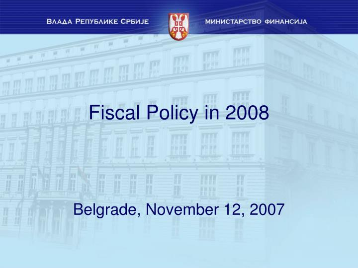 fiscal policy in 2008 n.