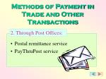 methods of payment in trade and other transactions1