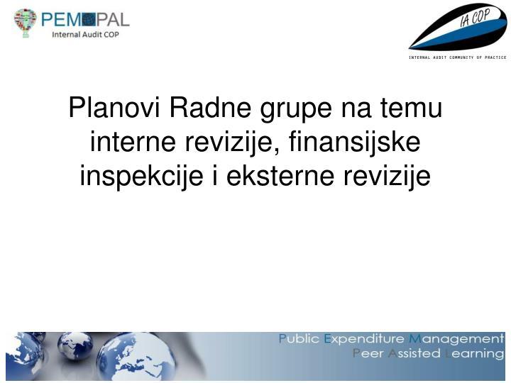 Planovi radne grupe na temu interne revizije finansijske inspekcije i eksterne revizije