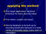 applying the method
