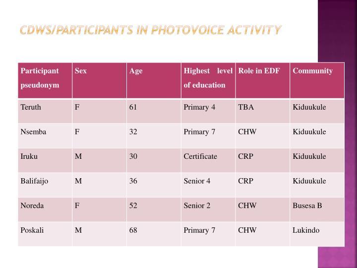 CDWs/participants