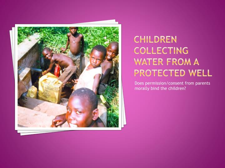 Children collecting water from a protected well