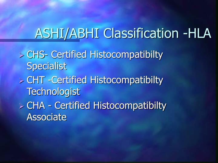 ASHI/ABHI Classification -HLA