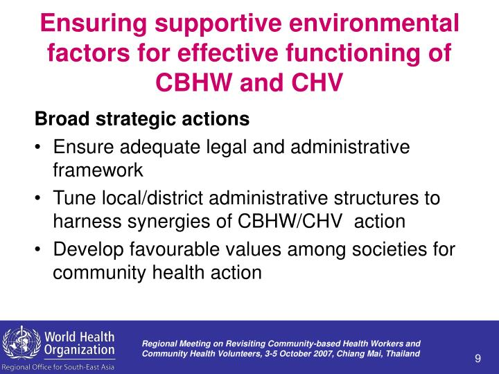 Ensuring supportive environmental factors for effective functioning of CBHW and CHV
