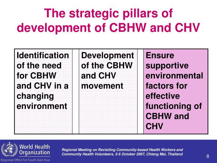 The strategic pillars of development of CBHW and CHV