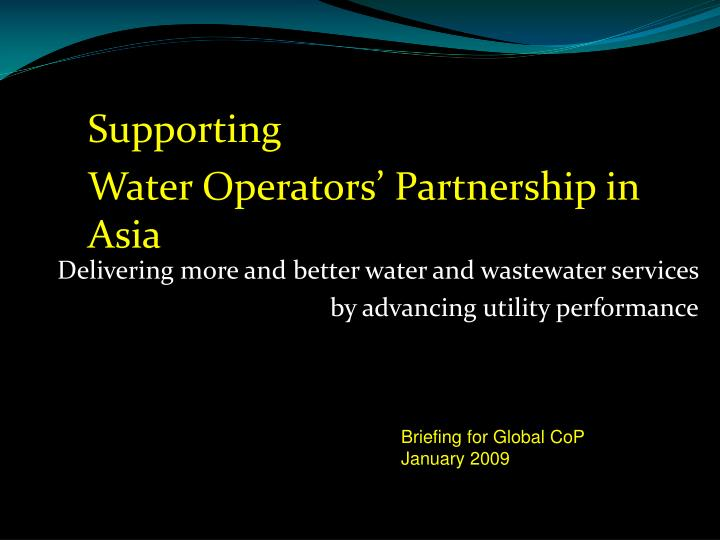 delivering more and better water and wastewater services by advancing utility performance n.