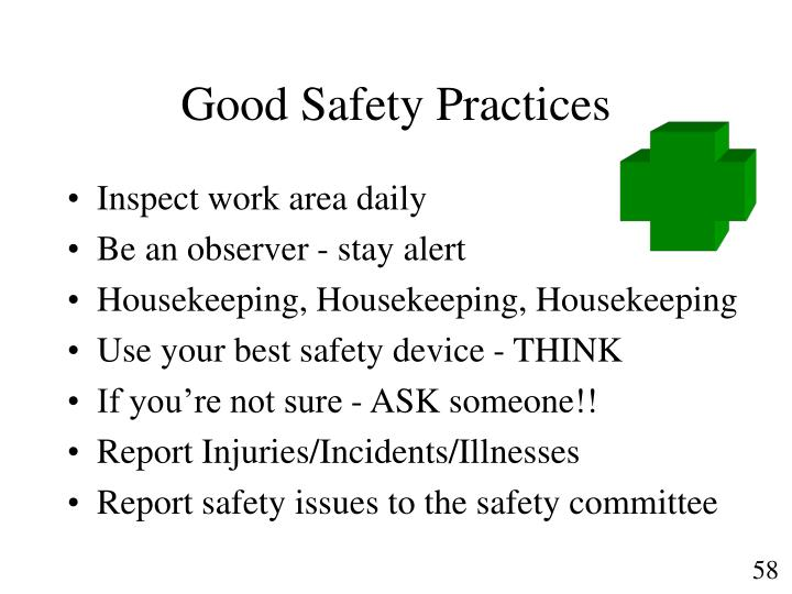 Good Safety Practices