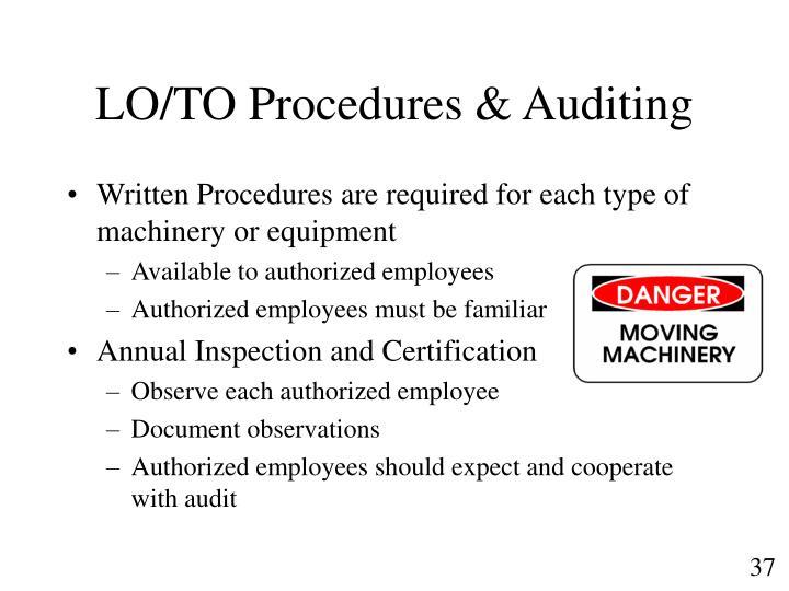 LO/TO Procedures & Auditing