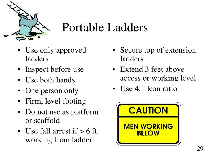 Use only approved ladders