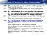 history of ntt communications ipv6 activities