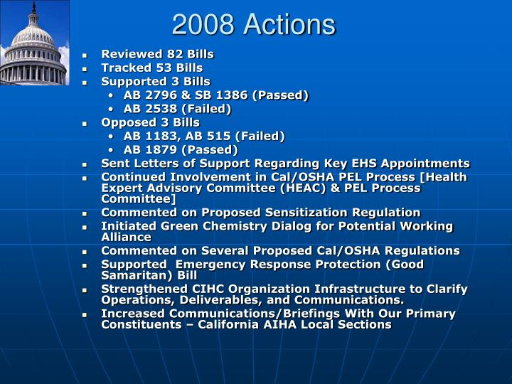 2008 Actions