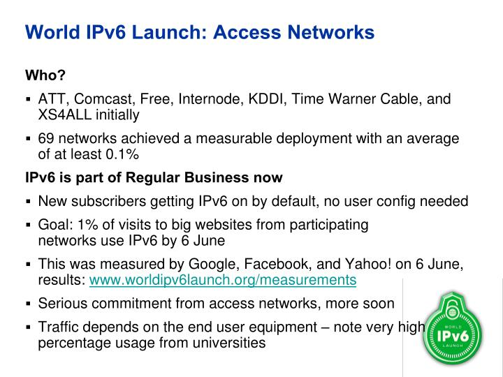 World ipv6 launch access networks