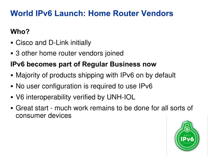 World IPv6 Launch: Home Router Vendors