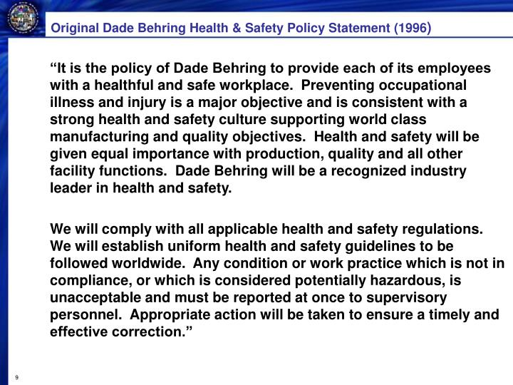 Original Dade Behring Health & Safety Policy Statement (1996