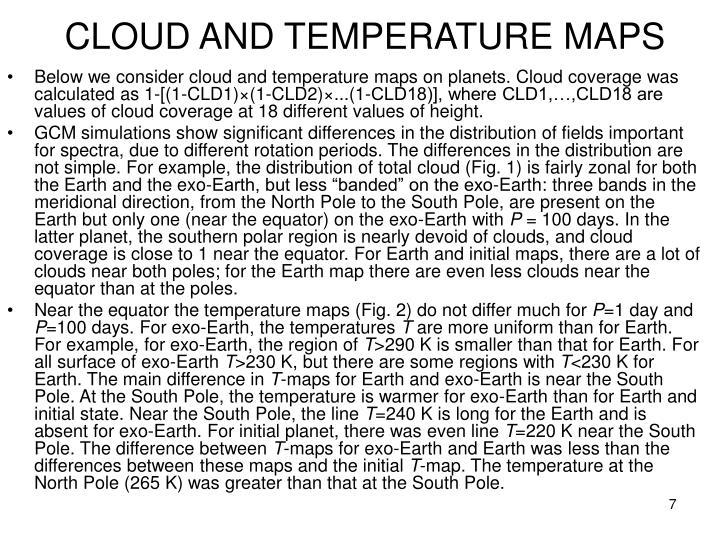 CLOUD AND TEMPERATURE MAPS