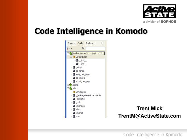 code intelligence in komodo