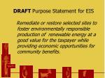 draft purpose statement for eis