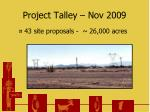 project talley nov 2009