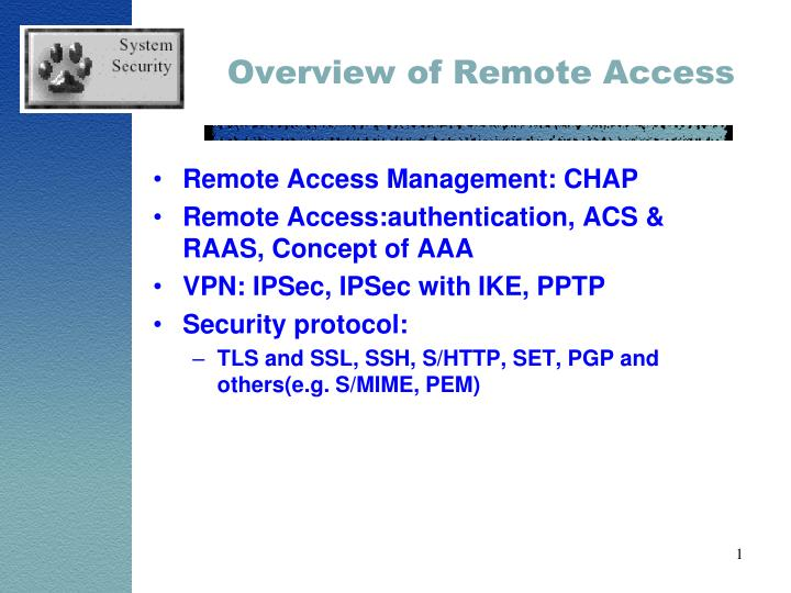 overview of remote access n.