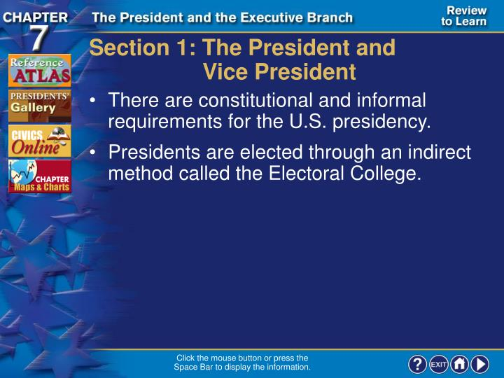 Section 1: The President and