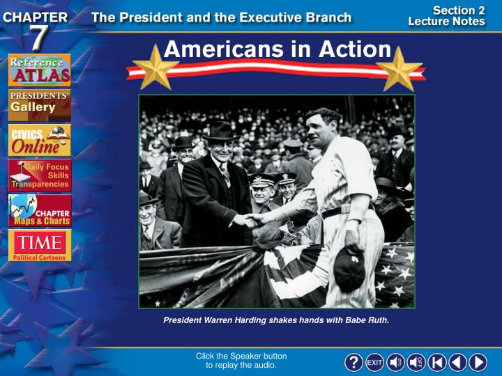 President Warren Harding shakes hands with Babe Ruth.