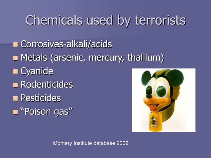 Chemicals used by terrorists