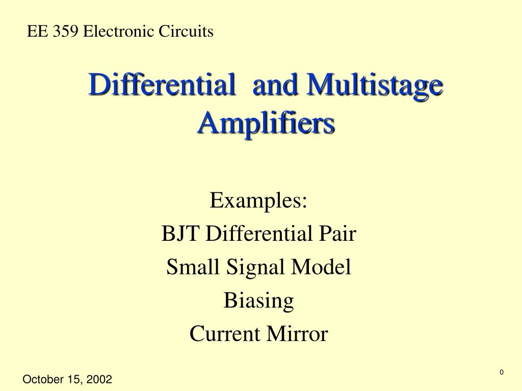 Ppt Differential And Multistage Amplifiers Powerpoint Presentation Current Source Is Shown In Figures 1 2 The Bjt Mirror N