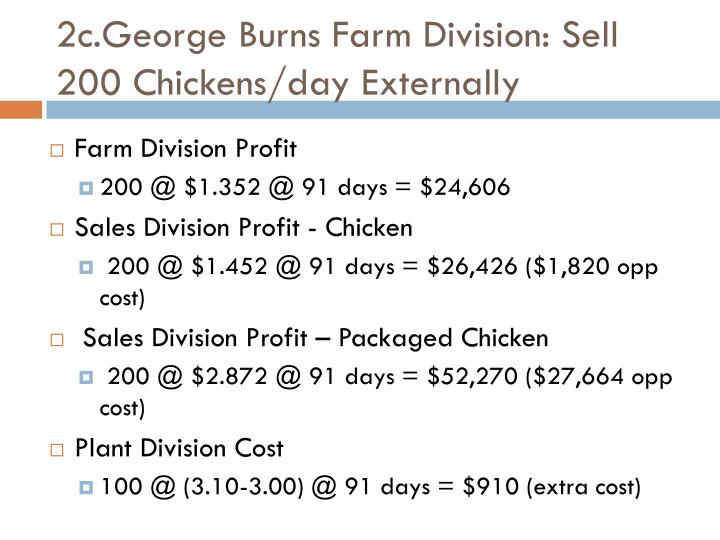 2c.George Burns Farm Division: Sell 200 Chickens/day Externally
