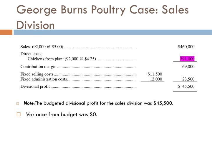 George Burns Poultry Case: Sales Division