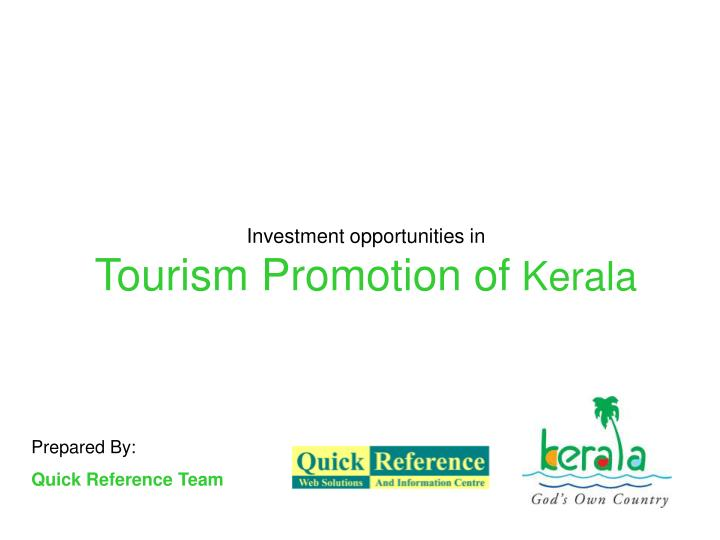 investment opportunities in tourism promotion of kerala n.