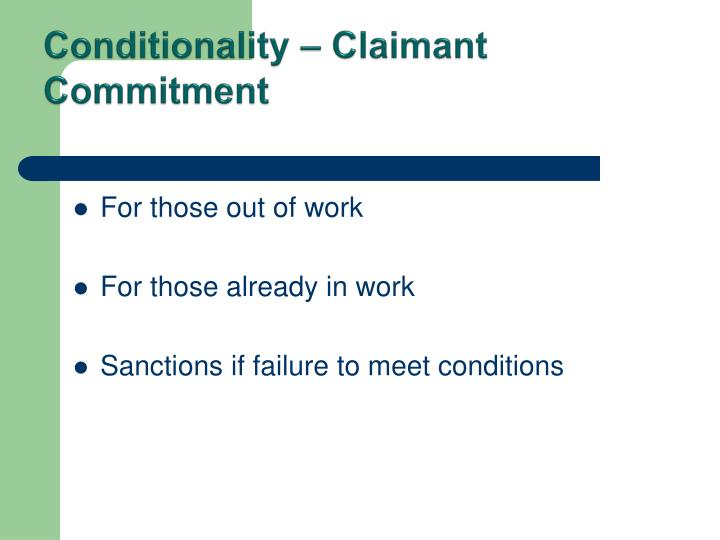 Conditionality – Claimant Commitment